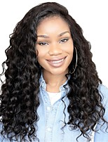 cheap -Remy Human Hair Lace Front Wig Brazilian Hair Loose Curl Wig Layered Haircut 130% Natural Hairline / For Black Women Black Women's Long Human Hair Lace Wig