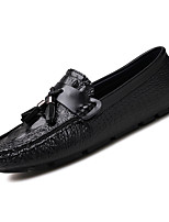 cheap -Men's Nappa Leather / Cowhide Fall Moccasin Loafers & Slip-Ons White / Black / Blue