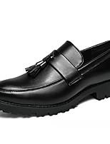 abordables -Hombre Cuero de Cerdo Otoño Confort Zapatos de taco bajo y Slip-On Negro / Marrón