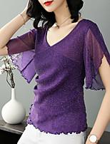 abordables -Tee-shirt Femme, Couleur Pleine Sortie Col en V