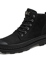 cheap -Men's Nappa Leather Spring / Fall Comfort Boots Black