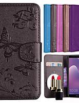 economico -Custodia Per Huawei Y9 (2018)(Enjoy 8 Plus) / Y6 (2018) Porta-carte di credito / Con chiusura magnetica / Fantasia / disegno Integrale Tinta unita / Farfalla Resistente pelle sintetica per Y9
