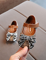 cheap -Girls' Shoes Cotton Spring / Fall First Walkers Flats Rhinestone / Bowknot / Magic Tape for Baby Black / Brown