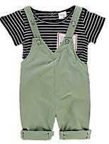 Недорогие -малыш Мальчики Однотонный / Полоски С короткими рукавами Набор одежды