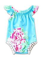 Недорогие -малыш Девочки Цветочный принт / С принтом Без рукавов Bodysuit