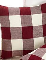 abordables -1 PC Lino Cobertor de Cojín, Geométrico / Ajedrez Estilo moderno / Cuadrícula