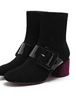 cheap -Women's Shoes Cowhide Fall / Winter Comfort / Fashion Boots Boots Chunky Heel Black