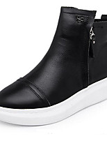 cheap -Women's Shoes Nappa Leather Fall & Winter Comfort Boots Flat Heel Closed Toe Booties / Ankle Boots White / Black