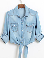 cheap -Women's Basic / Street chic Shirt - Solid Colored Patchwork