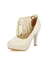 preiswerte -Damen Schuhe PU / Kunststoff Herbst Winter Knöchelriemen High Heels Stöckelabsatz Runde Zehe Quaste Schwarz / Beige / Leicht Rosa / Party & Festivität