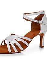 Недорогие -Жен. Обувь для латины Сатин На каблуках Тонкий высокий каблук Персонализируемая Танцевальная обувь Белый