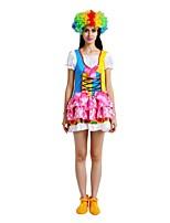 Недорогие -Клоун Костюм Жен. Хэллоуин Карнавал Маскарад Фестиваль / праздник Костюмы на Хэллоуин Инвентарь Цвет радуги Однотонный Halloween Хэллоуин
