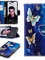economico -Custodia Per Huawei Honor 10 / Honor 7A A portafoglio / Porta-carte di credito / Con supporto Integrale Farfalla Resistente pelle sintetica per Honor 7X / Honor 7C(Enjoy 8) / Honor 6X
