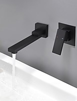 cheap -Bathroom Sink Faucet - Widespread / New Design Black Wall Mounted Single Handle Two Holes