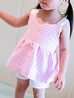 Недорогие -малыш Девочки В клетку Без рукавов Набор одежды