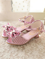 cheap -Girls' Shoes PU(Polyurethane) Spring & Summer Flower Girl Shoes Sandals Bowknot / Sequin for Kids Silver / Pink