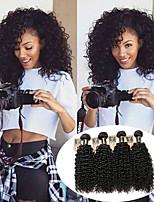 Недорогие -4 Связки Перуанские волосы Kinky Curly Натуральные волосы Человека ткет Волосы / Пучок волос / Накладки из натуральных волос 8-28 дюймовый Естественный цвет Ткет человеческих волос