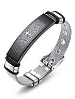 abordables -Homme Lien / Chaîne Chaînes & Bracelets / Bracelets Rigides / Bracelet ID - Acier inoxydable Branché, Décontracté / Sport, Mode Bracelet Argent Pour Cadeau / Quotidien