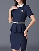 abordables -Mujer Chic de Calle / Sofisticado Conjunto - Un Color, Separado Falda