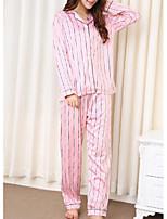 cheap -Women's Shirt Collar Suits Pajamas Striped