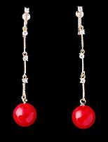 abordables -Mujer Zirconia Cúbica Elegante Pendientes cortos / Pendientes colgantes - Bola Moda Rojo Para Boda / Pedida