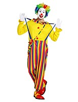 Недорогие -Клоун Костюм Муж. Хэллоуин Карнавал Маскарад Фестиваль / праздник Костюмы на Хэллоуин Инвентарь Желтый Однотонный Полоски Halloween Хэллоуин