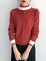 cheap -women's going out long sleeve slim pullover - solid colored turtleneck