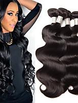 Недорогие -4 Связки Перуанские волосы Волнистый Натуральные волосы Человека ткет Волосы / Удлинитель 8-28 дюймовый Ткет человеческих волос Машинное плетение Горячая распродажа / 100% девственница