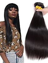 Недорогие -3 Связки Индийские волосы Прямой Натуральные волосы Человека ткет Волосы / One Pack Solution / Накладки из натуральных волос 8-28 дюймовый Ткет человеческих волос / Мода