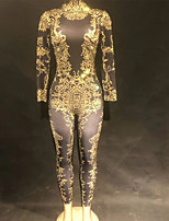 cheap -Jazz Leotards Women's Performance Spandex Pattern / Print / Ruching / Crystals / Rhinestones Long Sleeve Leotard / Onesie