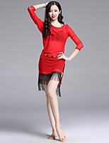 baratos -Dança do Ventre Roupa Mulheres Espetáculo Elastano Franzido / Mocassim Manga 3/4 Vestido / Calções