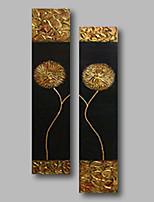 Недорогие -Hang-роспись маслом Ручная роспись - Цветочные мотивы / ботанический Современный холст