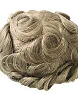 Недорогие -Муж. Натуральные волосы Накладки для мужчин Волнистый 100% ручная работа Мягкость