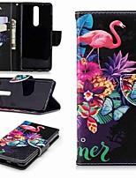 preiswerte -Hülle Für Nokia Nokia 5.1 / Nokia 3.1 Geldbeutel / Kreditkartenfächer / mit Halterung Ganzkörper-Gehäuse Flamingo Hart PU-Leder für Nokia 5 / Nokia 3 / Nokia 2.1
