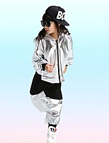 cheap -Jazz Outfits Unisex Performance Spandex Ruching / Split Joint Long Sleeve Coat / Pants