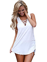 cheap -women's slim t-shirt - solid colored deep v
