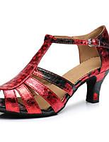Недорогие -Жен. Обувь для латины Сатин На каблуках Блеск Кубинский каблук Танцевальная обувь Красно-черный