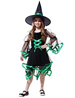 cheap -Witch Costume Girls' Halloween / Carnival / Children's Day Festival / Holiday Halloween Costumes Black Solid Colored / Halloween Halloween