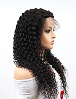 cheap -Remy Human Hair Full Lace Wig Brazilian Hair Afro Curly Wig Asymmetrical Haircut 130% / 150% / 180% Women / Sexy Lady / Natural Black Women's Very Long Human Hair Lace Wig