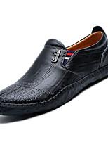 abordables -Hombre Suelos ligeros Cuero Primavera Suelas con luz Zapatos de taco bajo y Slip-On Negro / Marrón Claro / Caqui