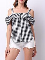 baratos -Mulheres Blusa Básico Estampado, Quadriculada