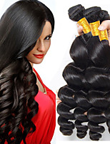 cheap -4 Bundles Brazilian Hair Wavy Human Hair Natural Color Hair Weaves / Extension 8-28 inch Human Hair Weaves Machine Made Best Quality / New Arrival / 100% Virgin Natural Human Hair Extensions Women's