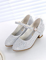cheap -Girls' Shoes Synthetics Spring / Fall Flower Girl Shoes Heels Rhinestone for Kids Gold / Silver / Pink