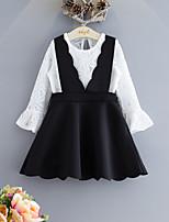 Недорогие -Дети / Дети (1-4 лет) Девочки Черное и белое Однотонный Длинный рукав Набор одежды