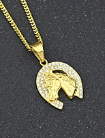 cheap -Men's Cubic Zirconia Cuban Link Pendant Necklace / Chain Necklace - Stainless Horse Head, Creative European, Trendy, Hip-Hop Gold 60 cm Necklace 1pc For Gift, Street