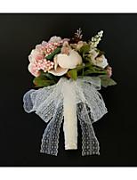 baratos -Bouquets de Noiva Buquês / Decorações Casamento / Festa de Casamento Renda / Poliéster / Botão de flor 11-20 cm