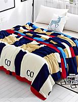 baratos -Velocino de Coral, Estampa Pigmentada Xadrez Algodão / Poliéster cobertores