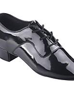 Недорогие -Мальчики Обувь для латины Лакированная кожа На каблуках Толстая каблук Танцевальная обувь Черный