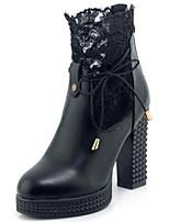 abordables -Femme Chaussures Polyuréthane Printemps & Automne Botillons Bottes Block Heel Bout rond Bottine / Demi Botte Blanc / Noir / Soirée & Evénement