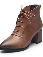 preiswerte -Damen Schuhe Nappaleder Herbst Winter Komfort Stiefel Blockabsatz Gelb / Hellbraun